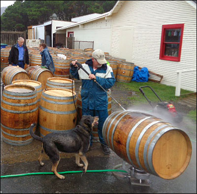 annual cleaning of wine barrels